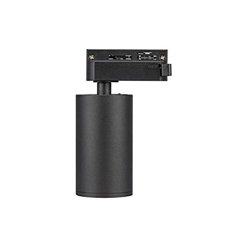 POPP®Foco Portalámparas carril en Monofasico GU10 (Bombilla no incluida) Aplique de superficie orientable (Negro)