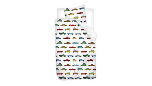 Snoozing Cars - Juego de Cama (Franela) 120x150 cm Multicolor