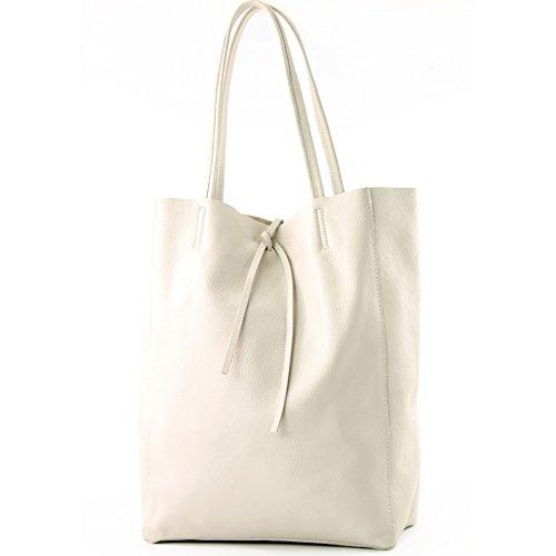 modamoda de - T163 - Ital. Shopper mit Innentasche aus Leder, Farbe:Creme