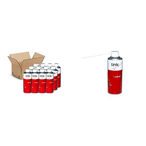 LINK Confezione Da 12 Bombolette Aria Compressa Da 400Ml. Con Cannuccia & Sp30 Bomboletta Air. Spray Aria Compressa Per La Pulizia Di Tastiere, Computer Ed Accessori