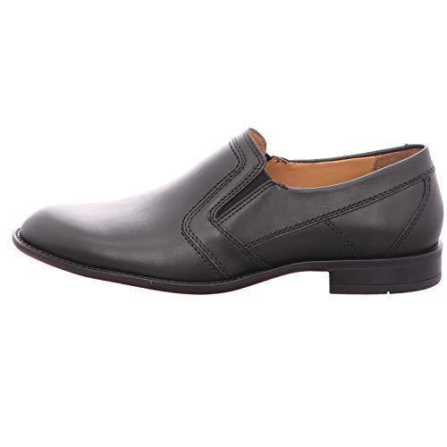 Fretz Men Tosco Herren Slipper schwarz | elegante und bequeme Anzugschuhe | Halbschuhe ohne Schnürsenkel für Business & City | auch für kräftige Füße | Schweizer Produktion | Schwarz, Größe: 41 1/3 EU