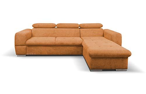 MOEBLO Ecksofa mit Schlaffunktion und Bettkasten Sofa Couch L-Form Polstergarnitur Wohnlandschaft Polstersofa mit Ottomane Couchgranitur mit Bettfunktion - Lizbona Mini (Orange, Ecksofa Rechts)