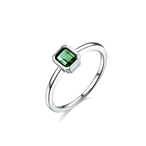Ubestlove Eternity Ring 18Ct Jewellery Gifts For Women Rings Round Inlaid 0.6Ct Green Tourmaline Ring Ladies Gifts U 1/2