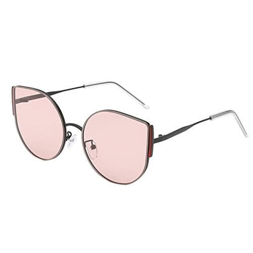 Transwen Gafas de sol de gran tamaño, retro, ojo de gato, marco de metal, a la moda, vintage, irregulares, polarizadas,