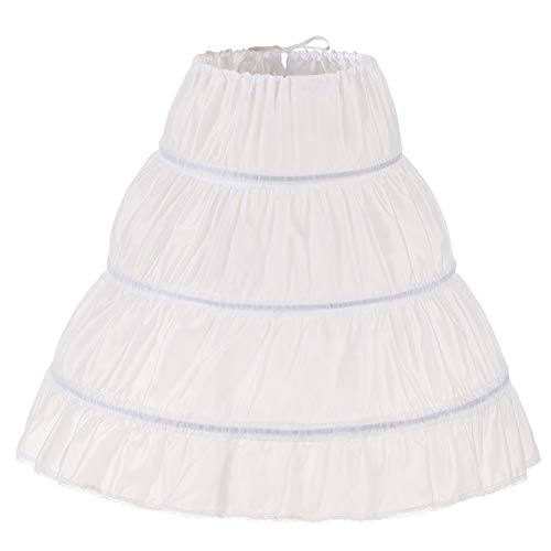NKL Bianca Bambini Petticoat A-Line 3 Hoops One Layer Bambini Crinoline Lace Trim Flower Girl Dress Sottogonna Elastico nel Vita 2-14Y (Bianco, 7-13 Anni,Length 25.5')