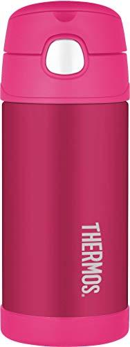 Funtainer Thermoskanne, Edelstahl, Strohhalmflasche, 355ml Strohhalm für Flasche rose