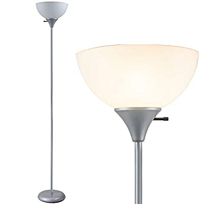 Newhouse Lighting NHFL-HE-SI Henry 71 inch Modern Standing Lamp, Torchiere Floor Bedrooms, Living Room, Office, Reading, Includes Free LED Light Bulb, Silver