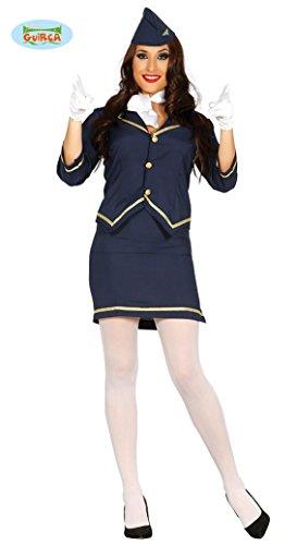 sexy Stewardess Offizierin Kostüm für Damen Karneval Fasching Luftfahrt blau Gr S - L, Größe:S