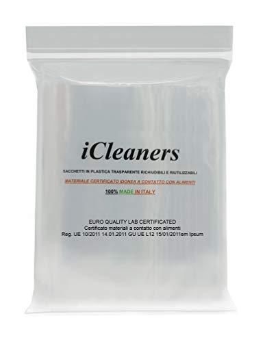 50 bolsas de plástico transparente fabricadas en Italia para alimentos con cierre a presión, reutilizables, muy resistentes, 100 % fabricadas en Italia (25 x 35 cm)