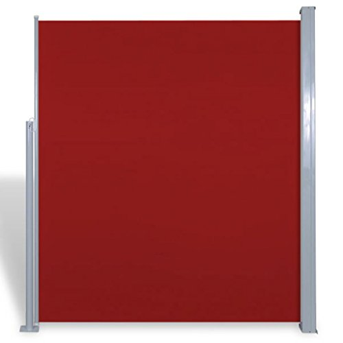 tidyard Seitenmarkise Seitenrollo Markise Ausziehbar Seitenwandmarkise Windschutz & Sichtschutz Stahlrahmen 160 x 300 cm Rot für Terrasse oder Balkon