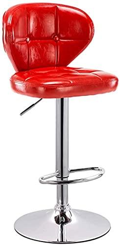 Wenli - Taburete de bar regulable, silla de bar, taburete de bar, taburete alto, silla de respaldo, sin rotación (63-83 cm) (color rojo, tamaño: 41 cm)
