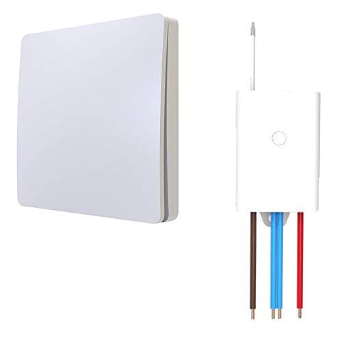 Funkschalter SET für LED Beleuchtung 230V Montage an der Wand Taster Drahtlos Kinetischer Batterieloser Schalter mit Empfänger