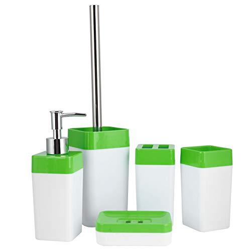 BIKING Soportes de cepillos de Inodoro, 5 unids/Set Juego de baño Soporte de Cepillo de Dientes de plástico Taza de Enjuague Plato de jabón Botella de líquido Cepillo de Inodoro(Verde)