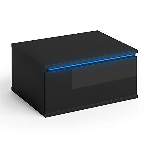 Vicco Nachttisch Pierre schwarz Hochglanz LED Nachtschrank wandhängend Kommode Schrank Schlafzimmer Schublade