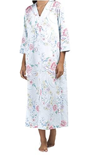 Miss Elaine Sateen Zip Front 100% Cotton Robe (Blue Print, X-Large)