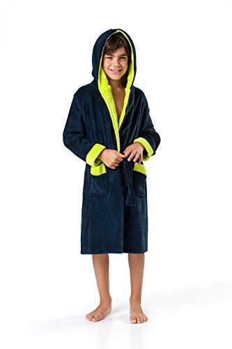 Envie Albornoz infantil, bata, con capucha, bicolor Navy-Grün 6 años