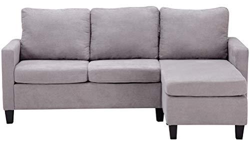 Sofá de algodón en forma de L para sala de estar
