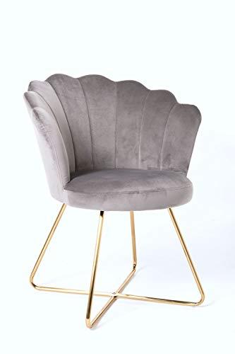 Duhome Sessel aus Stoff Samt Polstersessel Retro Design Polsterstuhl Metallgestell Gold 8057C, Farbe:Grau, Material:Samt