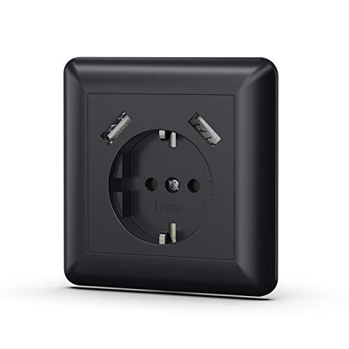 Urhome Schuko stopcontact met 2 x USB 2.0-poorten in kleur | oplader voor smartphone, tablet enz. 1x Steckdose zwart
