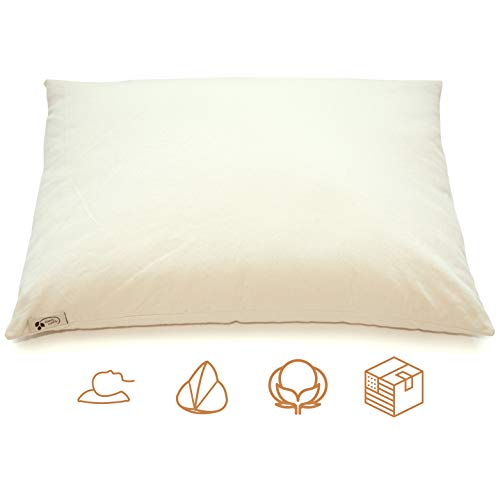 """ComfyComfy Premium Buckwheat Pillow, Standard Size (20"""" x 26""""), Comes with Extra 2 lb of USA Grown Buckwheat Hulls to Customize for Comfort, Made from Durable Organic Cotton Twill"""