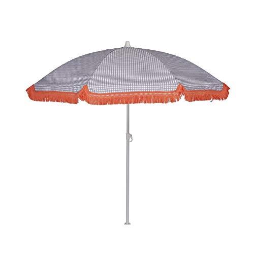 EZPELETA Sombrilla de Playa. Parasol de Playa. Ligero y Plegable de Acero. Paraguas Sol. Protección Solar UPF 50+. Diámetro 150cm. Estampado Flores/Cuadros/Rayas. Incluye Funda/Bolsa. - Cuadros-Gris