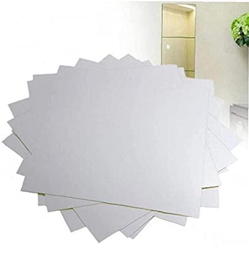 Wandspiegel Aufkleber-Set, Selbstklebend Kunststoff Flexible Platz Dekorative Spiegel Fliesen Silber Aufkleber Für Glasspiegel DIY Kunst-Raum-dekor Folie
