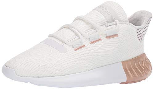 adidas Originals Women's Tubular Dusk Running Shoe, Crystal White/Platino Metallic/White, 7.5 M US