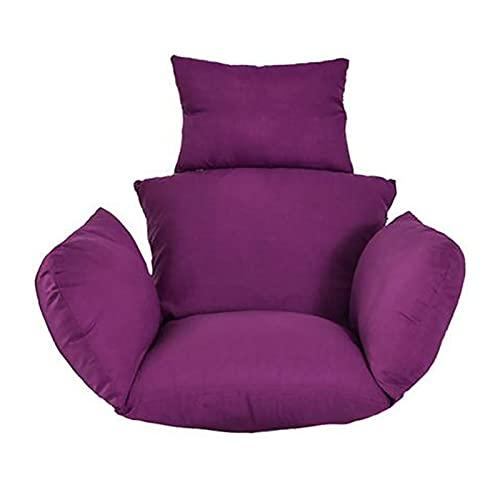 Cojín de Asiento de Cesta Colgante Columpio, Impermeable Cojín de Silla Colgante de Interior Al Aire Libre, Almohadillas de Silla de Hamaca de Huevo Grueso (Silla No Incluida) Purple