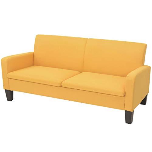 vidaXL Sofa 3-Sitzer Gelb Polstersofa Loungesofa Sitzmöbel Stoffsofa Couch