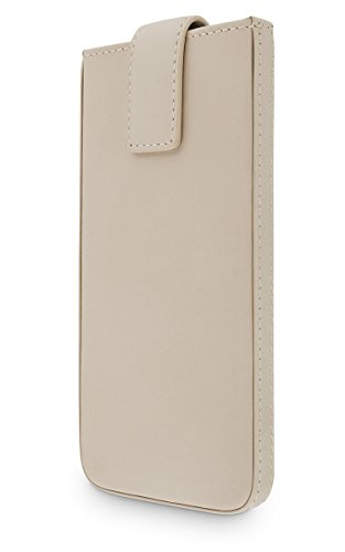 WIIUKA Echt Ledertasche - Close - für Apple iPhone 8, iPhone 7 & iPhone 6 / 6S Beige Creme Design Tasche mit Rausziehband Premium Hülle