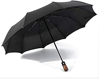 Windproof Travel Umbrella Golf, Wood Handle Auto Open & Close, Stylish Lightweight 10 Ribs Automatic Compact Folding Umbrellas with Waterproof bag. (Black with Real Wood Handle) by Cloudin