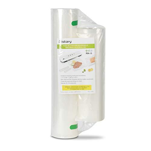 Diskary Rollos de bolsas para envasar al vacío y conservar y almacenar alimentos, 20 cm x 5 m y 28 cm x 5m