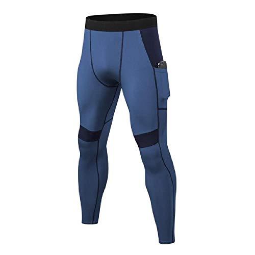 N\P Pantalones de fitness para hombre, ajustados, muy elásticos, de secado rápido, con bolsillos, para ciclismo, yoga azul L