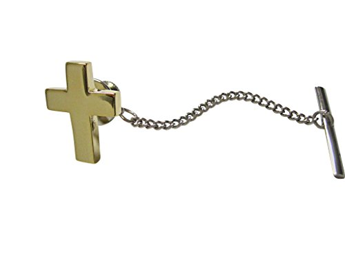 Kiola Designs Gold Toned Thick Classic Religious Cross Tie Tack