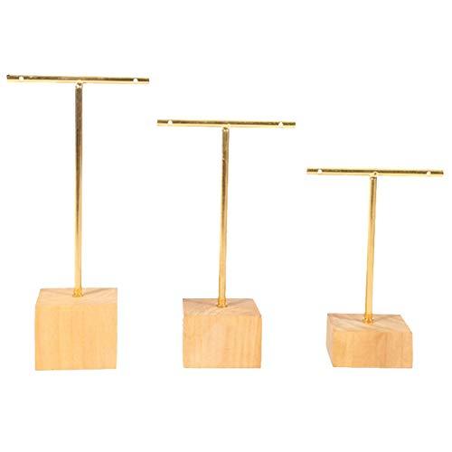 CareMont Soporte de Estante de ExhibicióN de Joyas con Barra en T de Moda de 3 Piezas Organizador para Colgar Pendientes Conjunto de Joyas