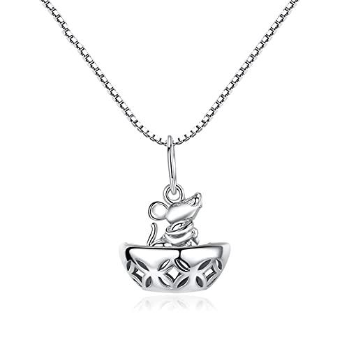 KGDC Collares Collar de ratón Afortunado Femenino de Plata esterlina Cadena de clavícula Colgante niña Shaw ratón joyería Collars de Mujer