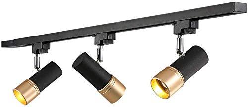 Beautiful Home Decoratielampen Track System LED plafondlamp 3 vlammen E27 3 * 7W moderne lampen spotlight plafond zwart en metaal goud 1fase rail draaibaar en draaibaar lichtpunten wit