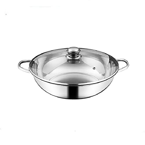 Two-Flavor Hot Pot Household Hot Pot Thickened Induction Cooking Special Pot Stainless Steel Soup Hot Pot Clear Soup Boiler (Color : 32cm Clear Soup Pot)