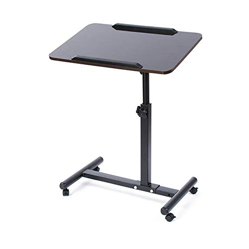 Nvshiyk Computer Desk Workstation Rolling Laptop Cart with Wheels Removable Laptop Table Adjustable Height for Home Office (Color : Black, Size : One size)
