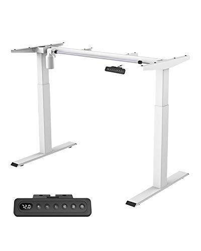 MAIDeSITe höhenverstellbarer elektrisher Schreibtisch mit starken Motoren,2 teiligen Beinen sowie auch 4 Memory-Steuerung und Kollisionschutz Funktion(Weiß)