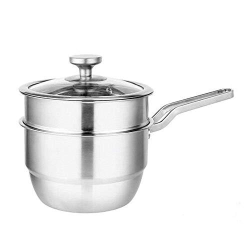 Suppentopf, Edelstahl Milchkanne Multifunktionsdoppel-Lay Dampftopf Kochtöpfe mit Garblech for Frühstück, 18Cm ZHW345