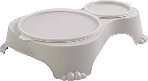 Rotho Sally Doppel Futternapf mit Deckel, Kunststoff (PP) BPA-frei, sand, 1l + 0,28l (32,0 x 23,7 x 7,0 cm)