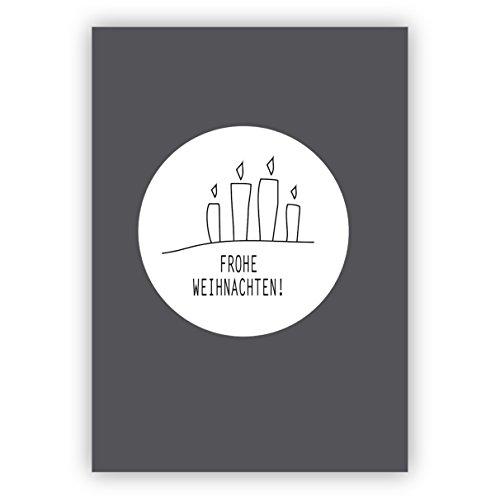 1x Edle Designer Weihnachtskarte mit 4 Advents Kerzen auf grau: Frohe Weihnachten • als liebevolle Weihnachtspost zum Jahreswechsel für Familie und Firma