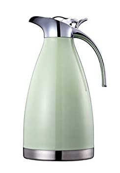 Bonnoces 68 Oz Stainless Steel Thermal Carafe - Double Walled Vacuum Insulated Thermos/Carafe with Lid - Coffee/Tea Carafe Heat & Cold Retention - 2 Liter  Green