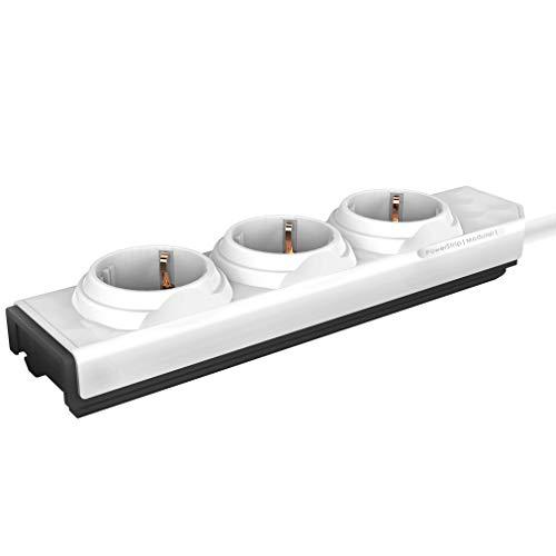 PowerStrip Modular Steckdosenleiste von Allocacoc - 3 fach Stromleiste zum Erweitern, Grundmodul, weiß, 1,5 m Kabellänge