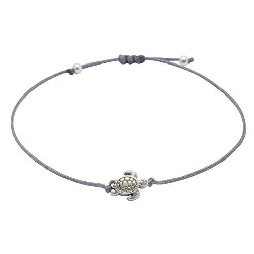 Armband Schildkröte Silber Grau - Größenverstellbar, Makramee Schildkröten Armbändchen handmade Selfmade Jewelry ®