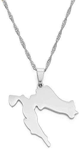 BACKZY MXJP Collar con Colgante De Mapa De Croacia, Collares De Acero Inoxidable De Color Dorado para Mujeres Y Niñas, Mapas De Joyería Croata, Regalo