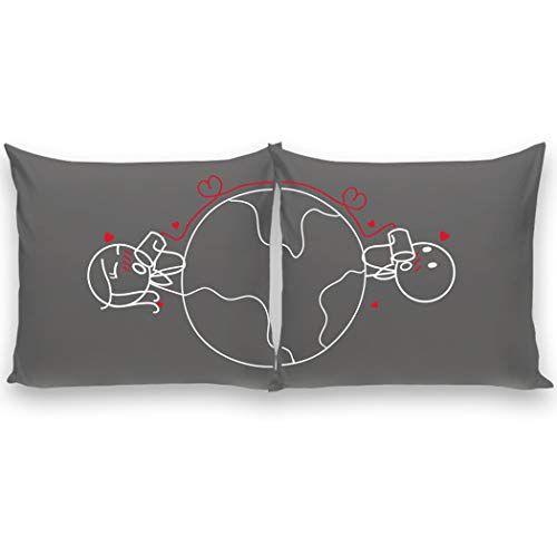BoldLoft Love Has No Distance His and Hers Throw Pillow Covers-Long Distance Relationships Gifts Couples Pillowcases Boyfriend Girlfriend Anniversary Valentine's Day-(2) Euro Pillow Covers 26x26 Grey