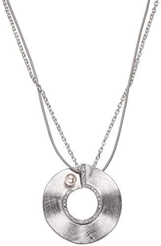 Perlkönig Kette Halskette | Damen Frauen | Scheibe in Silber | Rund | Mehrreihig | Glitzer Steine | Perle | Karabiner | Nickelabgabefrei