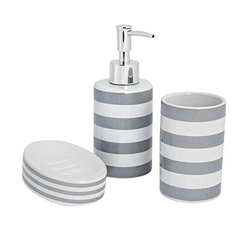 Harbour Housewares Set de baño de 3 Piezas - Dosificador de jabón, Vaso para cepillos de Dientes y jabonera - Rayas Grises
